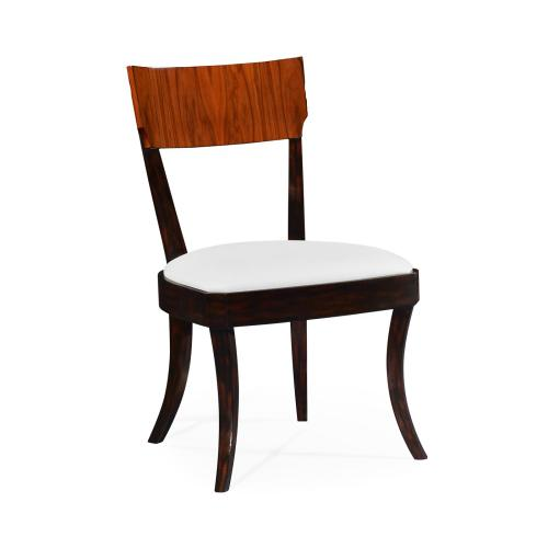 Art Deco High Lustre Rosewood Dining Side Chair, Upholstered in COM