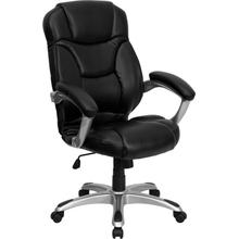 View Product - High Back Black LeatherSoft Contemporary Executive Swivel Ergonomic Office Chair with Silver Nylon Base and Arms