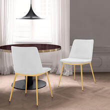Messina Modern White Velvet and Gold Metal Leg Dining Room Chairs - Set of 2