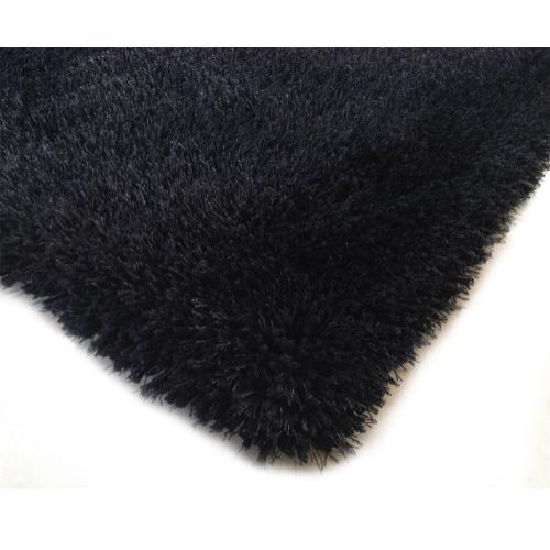 """Shaggy Viscose Solid S.V.S. - Black / 4' x 5'4"""""""