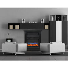 Cambridge Sienna 34 In. Electric Fireplace w/ Multi-Color LED Insert and Black Coffee Mantel, CAM3437-1COFLED