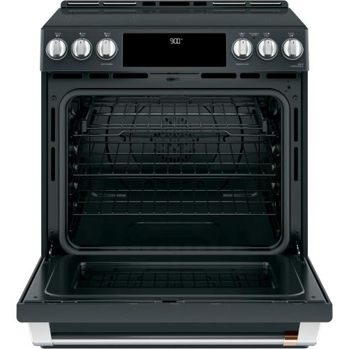 """Cafe - Café 30"""" Smart Slide-In, Front-Control, Induction and Convection Range with Warming Drawer"""