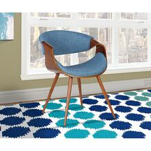 View Product - Armen Living Butterfly Mid-Century Dining Chair in Walnut Finish and Blue Fabric