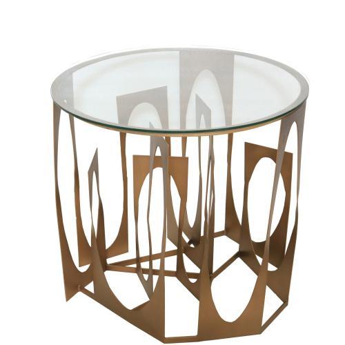 Vanderbilt Metal and Glass Accent Table