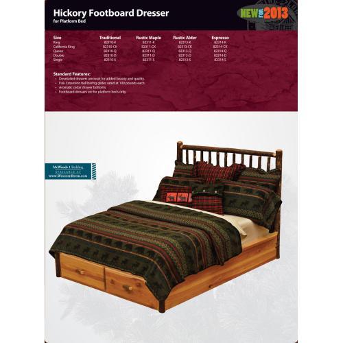 Hickory Footboard Dresser for Platform Bed