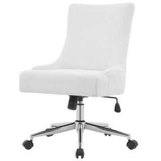 See Details - Charlotte KD Faux Fur Fabric Office Chair, Fleece White