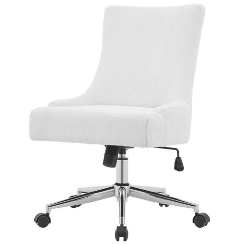 Charlotte KD Faux Fur Fabric Office Chair, Fleece White