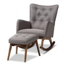 See Details - Baxton Studio Waldmann Mid-Century Modern Grey Fabric Upholstered Rocking Chair and Ottoman Set