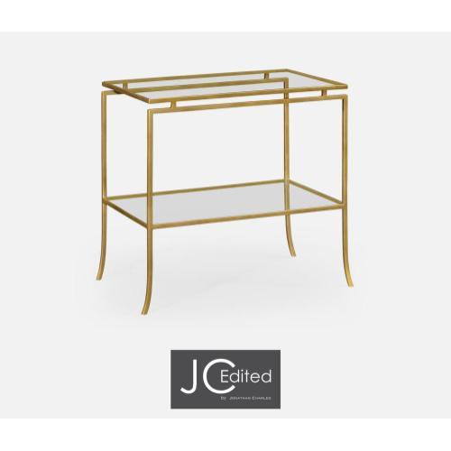 Gilded iron rectangular side table