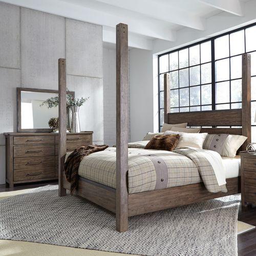 King California Poster Bed, Dresser & Mirror