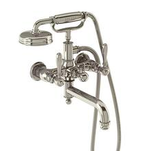 Arcade Exposed Wall-mount Bathtub Faucet with Handshower and Metal Lever Handles - Polished Chrome