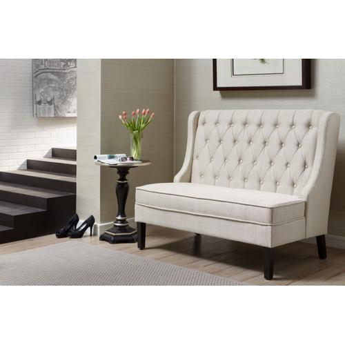 Product Image - Tufted Shelter Wing Entryway Bench in Oatmeal Beige