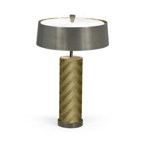 Circular Natural Oak & Brass Table Lamp