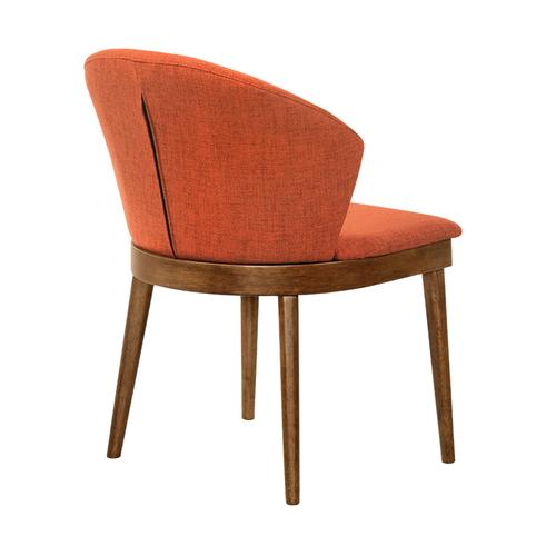 Armen Living - Juno Orange Fabric and Walnut Wood Dining Side Chairs - Set of 2