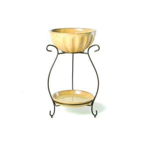 Round Beverage Cooler w/ saucer & iron stand