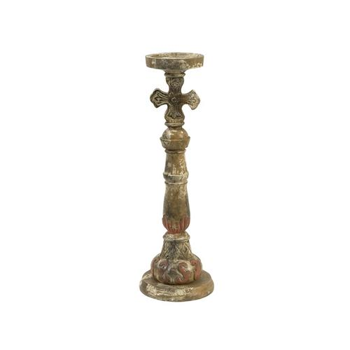 Rosado Small Hand Carved Wood Candleholder