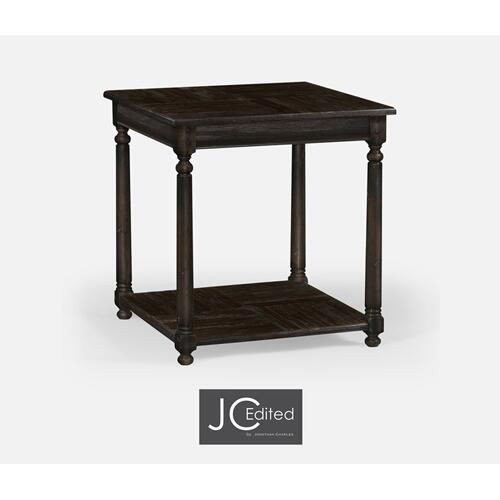 Dark Ale Parquet Square Lamp Table with Contrast Inlay
