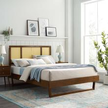 Kelsea Cane and Wood Full Platform Bed With Angular Legs in Walnut