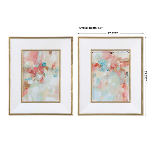 Uttermost - A Touch of Blush and Rosewood Fences Framed Prints, S/2