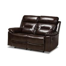 See Details - Baxton Studio Byron Modern and Contemporary Dark Brown Faux Leather Upholstered 2-Seater Reclining Loveseat