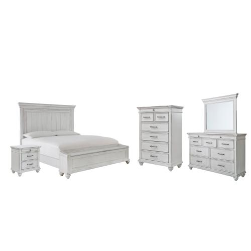 Ashley - Queen Panel Bed With Storage With Mirrored Dresser, Chest and Nightstand