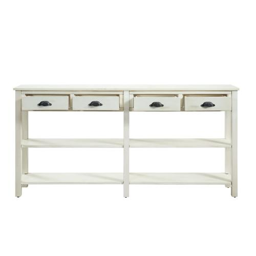 4-drawer and 2-shelf Console Table, Soho Cream Crackle