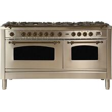 Nostalgie 60 Inch Dual Fuel Natural Gas Freestanding Range in Stainless Steel with Bronze Trim