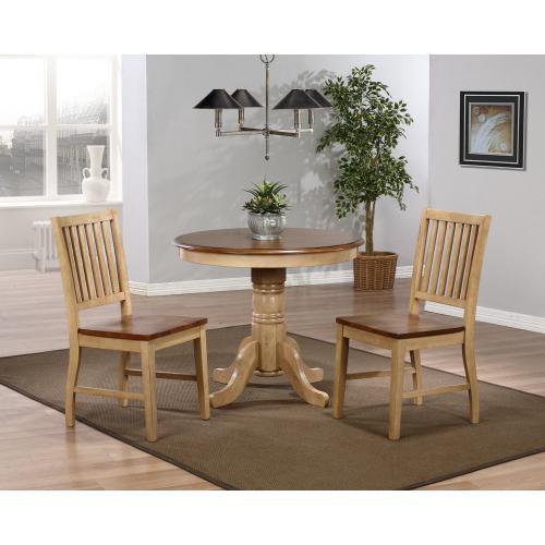 Brook Round Dining Set w/Slat Back Chairs (3 piece)
