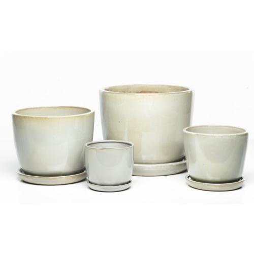 Sasha Planters, Shiny White - Set of 4