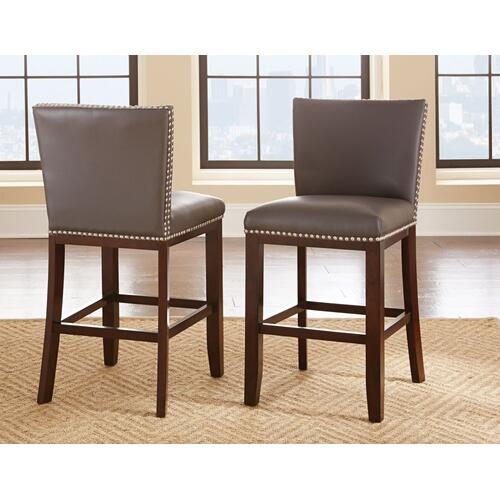 Tiffany Bonded Counter Chair w/Nailhead, Gray