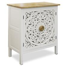CAMILLA ACCENT CABINET  29in w. X 33in ht. X 15in d.  Mango Wood Two Door Cabinet with Open Work F