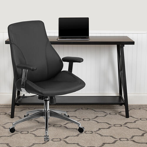 Gallery - Mid-Back Black LeatherSoft Smooth Upholstered Executive Swivel Office Chair with Arms