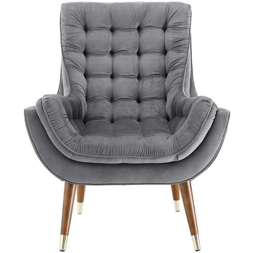 Suggest Button Tufted Performance Velvet Lounge Chair in Gray