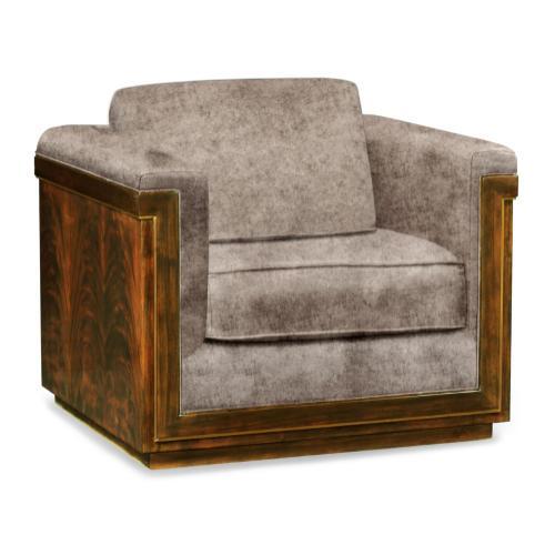 40'' Antique Mahogany Brown High Lustre Sofa Chair, Upholstered in Truffle Velvet
