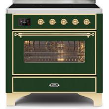 Majestic II 36 Inch Electric Freestanding Range in Emerald Green with Brass Trim