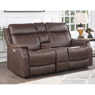 See Details - Lancaster Dual Power Reclining Console Loveseat