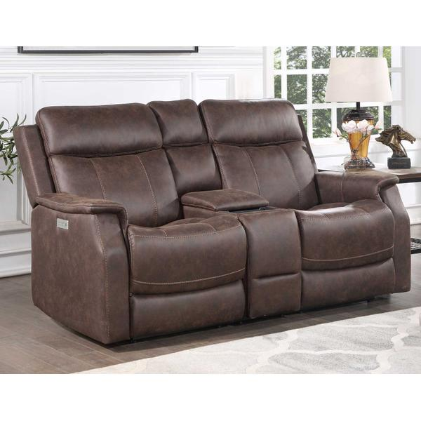 Valencia Dual-Power Leatherette Reclining Console Loveseat, Walnut
