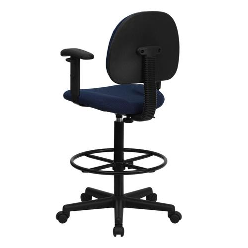 Gallery - Navy Blue Patterned Fabric Drafting Chair with Adjustable Arms (Cylinders: 22.5''-27''H or 26''-30.5''H)