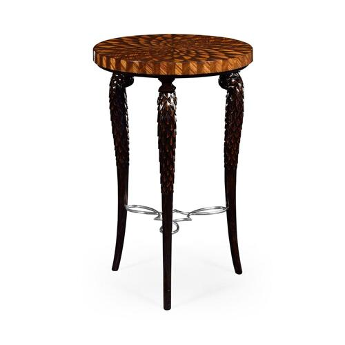 Feather inlay 3 legged end table with stainless steel strecher