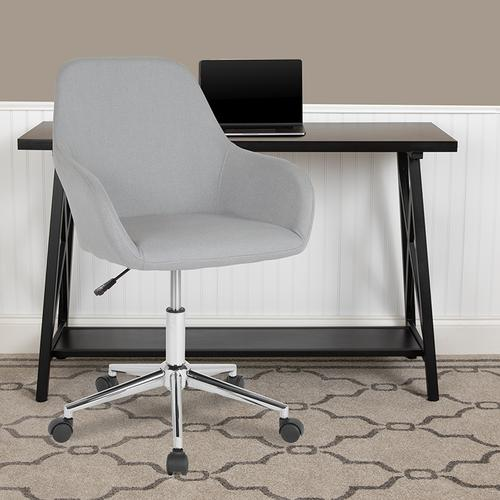 Gallery - Cortana Home and Office Mid-Back Chair in Light Gray Fabric