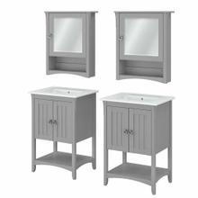 See Details - 48W Double Vanity Set with Sinks and Medicine Cabinets, Cape Cod Gray