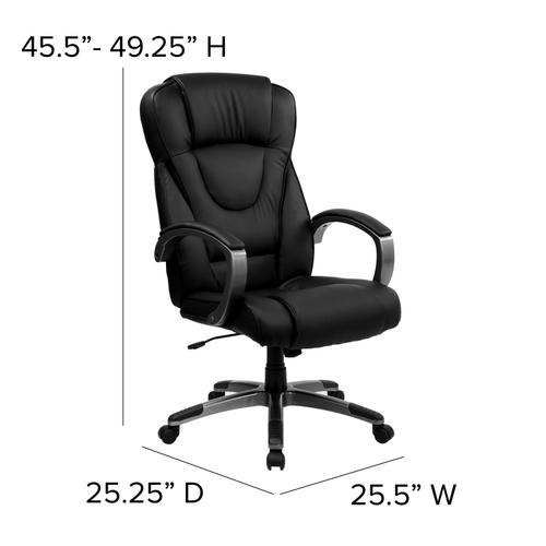 Gallery - High Back Black LeatherSoft Executive Swivel Office Chair with Titanium Nylon Base and Loop Arms