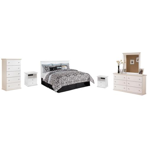 King/california King Panel Headboard With Mirrored Dresser, Chest and 2 Nightstands