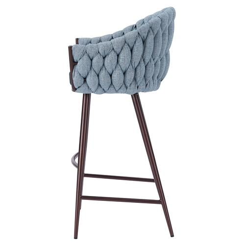 Fabian KD Fabric/ PU Bar Stool w/ Arms, Alpine Light Blue/ Fairfax Green