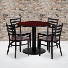 36'' Round Mahogany Laminate Table Set with Ladder Back Metal Chair and Mahogany Wood Seat, Seats 4