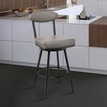 "Denver Contemporary 30"" Bar Height Barstool in Black Finish and Vintage Grey Faux Leather"