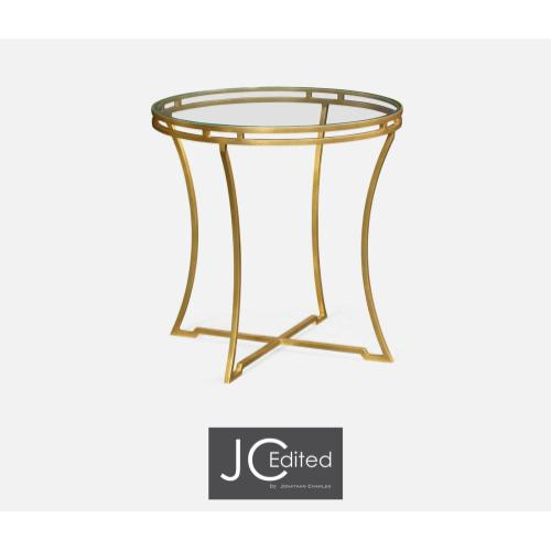 Gilded iron round side table