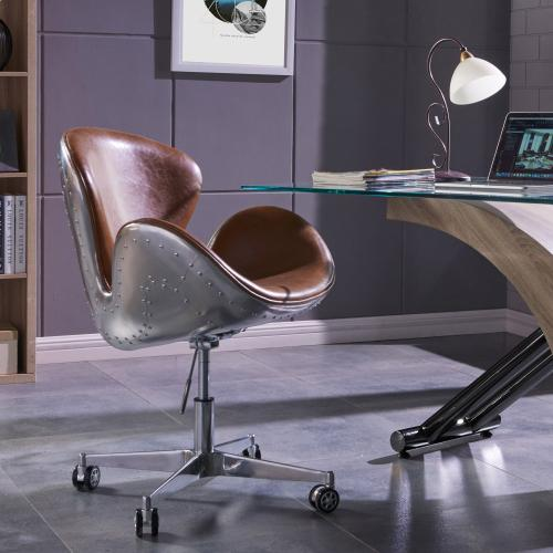 Product Image - Duval PU Swivel Office Chair Aluminum Frame, Distressed Caramel