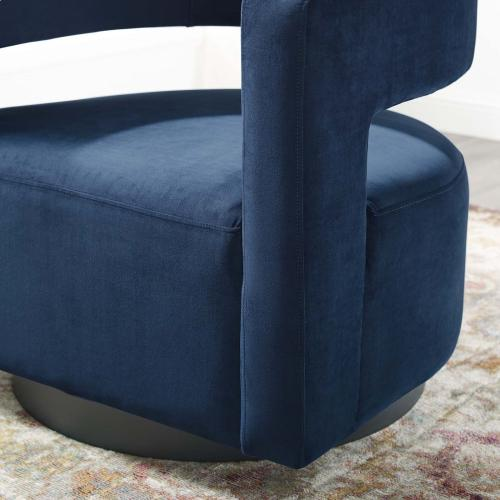 Spin Cutaway Performance Velvet Swivel Armchair in Midnight Blue