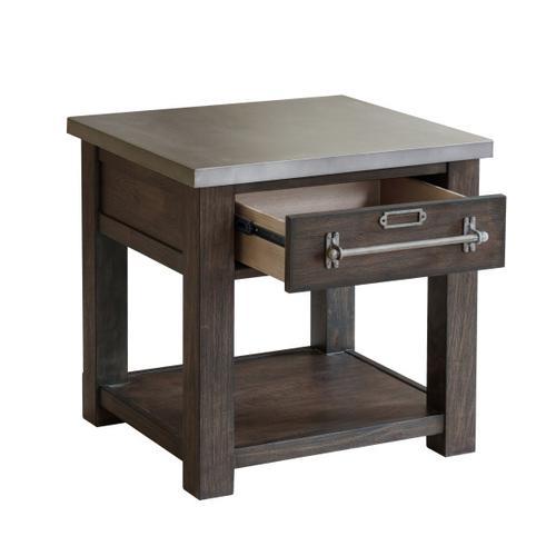 Metal Top Dark Oak Side Table